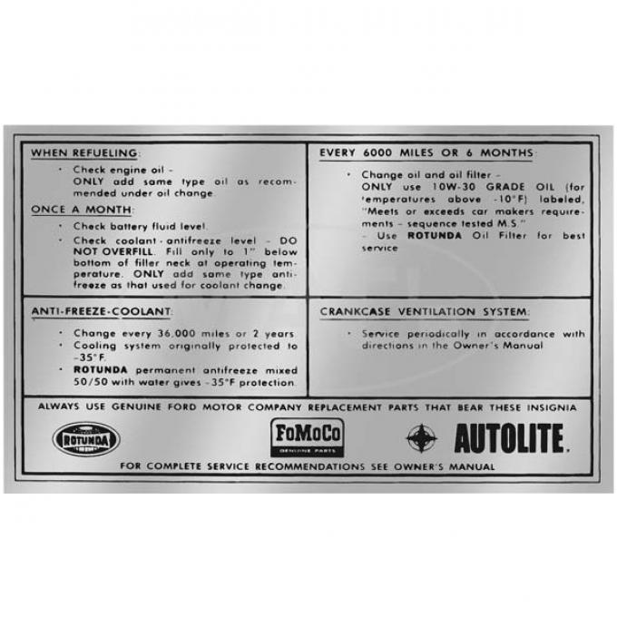 Decal - Service Specification - 1965-1966 - FoMoCo Autolite and Rotunda logos