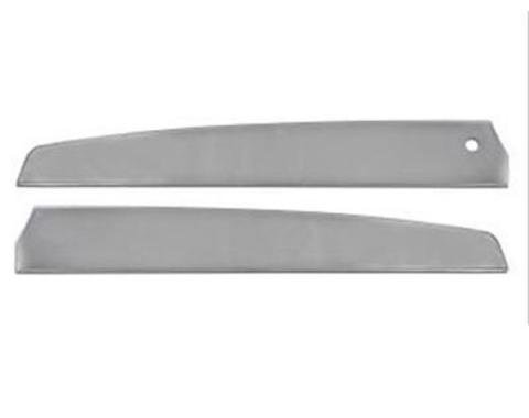 Ford Mustang Door Trim Panel Inserts - Brushed Aluminum - Deluxe Interior - Without Hole For Remote Mirror Controls