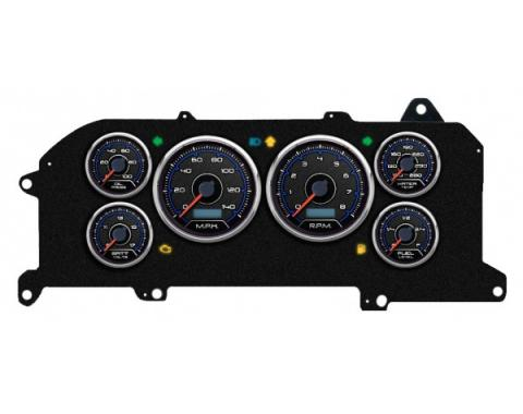 Mustang - New Vintage USA CFR Blueline Series Kit - 6 Gauge Package, 1987-1993 - Programmmable Speedometer MPH