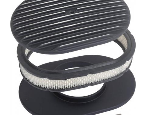 Finned Aluminum Air Cleaner, 12'' Oval With Black Finish, 1932-1985