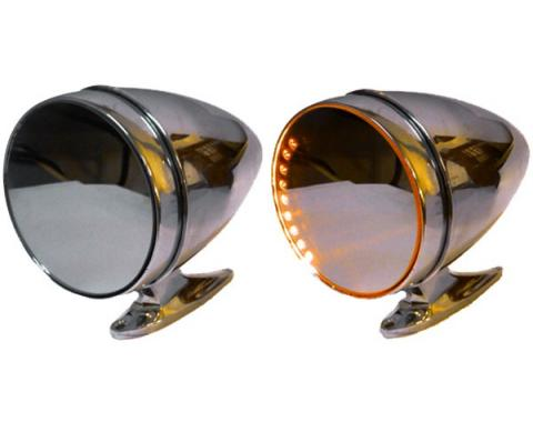 Mustang Amber LED Turn Signal Side Mirrors, Shelby Sport-Style With Short Bases, 1964-1966