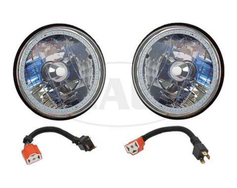 Headlights, 7 Inch Round White Diamond With Single Color White LED Halo