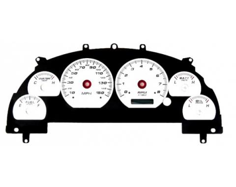 Musatng - New Vintage USA - Gauge Cluster Overlay - Performance ll Series, Silver Dial- 1999-2004