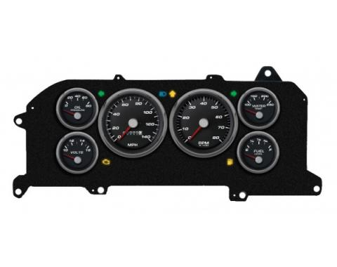 Mustang - New Vintage USA Performance ll Series Kit - 6 Gauge Package, Black Dial - 1987-1993 -  Programmable Speedometer MPH