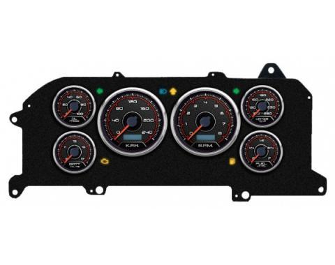 Mustang - New Vintage USA CFR Redline Series Kit - 6 Gauge Package, 1987-1993 - Programmmable Speedometer KPH
