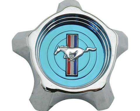 Ford Mustang Wheel Center Cap - Blue Center - Push-In Type - 3-3/4 Diameter