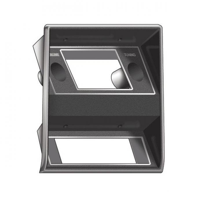 Ford Mustang Radio Bezel Panel - Black Camera Case Finish With Chrome Edge