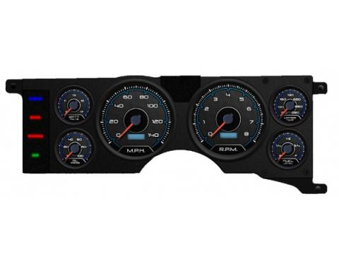Mustang - New Vintage USA CFR Blueline Series Kit - 6 Gauge Package, 1979-1986 - Programmmable Speedometer MPH