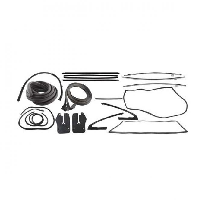 Ford Mustang Weatherstrip Kit - Fastback - 11 Seals With Black Bead Belt Weatherstrip - Before 9-7-64