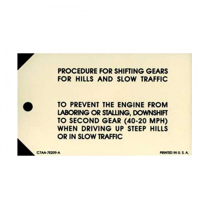 3-Speed Transmission Instruction Tag - Falcon