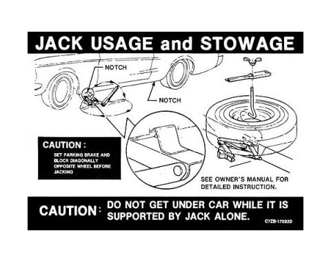 Ford Mustang Decal - Jack Instruction - From Early 1967