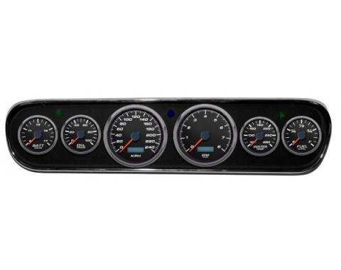 Mustang - New Vintage USA Performance ll Series DIY Gauge Panel Kit - 6 Gauge Package, Black Dial, 1964-1966 - Programmable Speedometer KPH