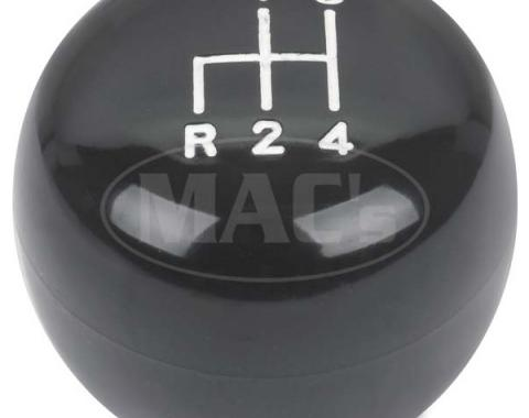 Ford Mustang Manual Transmission Floor Shift Knob - 4 SpeedPattern In White - Black Bakelite Knob