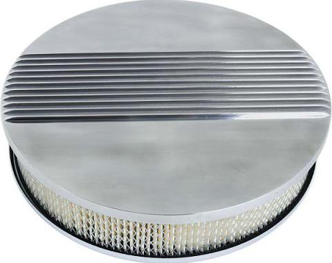 Air Cleaner - 14 Diameter - Cal Custom Style Finned Aluminum - 260, 289 & 302 V8 - Ford & Mercury