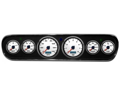 Mustang - New Vintage USA Performance ll Series DIY Gauge Panel Kit - 6 Gauge Package, White Dial, 1964-1966 - Programmable Speedometer MPH
