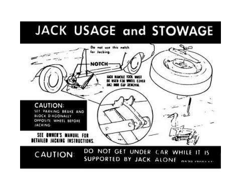 Ford Mustang Decal - Jack Instruction - Regular Wheel - Through Early 1971