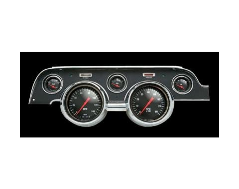 Mustang Classic Instruments® 5-Gauge Set, Hot Rod Style, Black or White Background, Includes Dash Bezel, 1967-1968