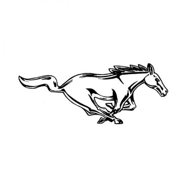 ford mustang decal - running horse - silver - 12 high