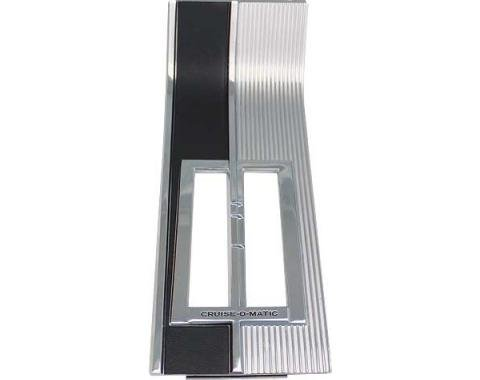 Ford Mustang Console Shift Plate - For Automatic Transmission - Chrome Ribs With Black Paint