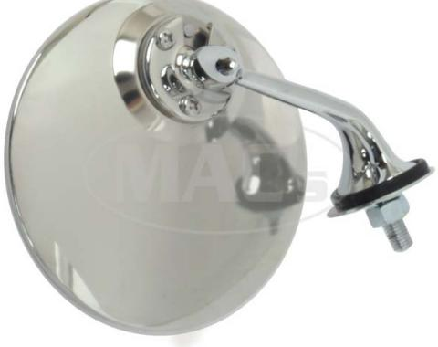 Round Stainless/Chrome British Style Outside Mirror, Right Side