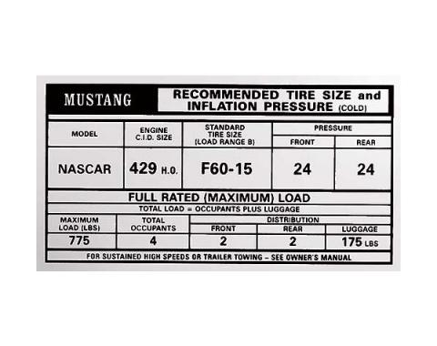 Ford Mustang Decal - Tire Pressure - Boss 429