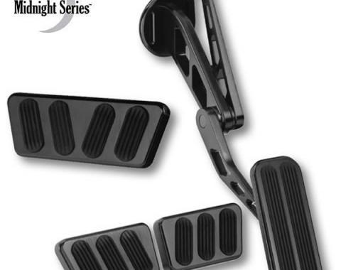 Lokar Billet Aluminum Pedals, Midnight Series, Mustang, 1964-1970