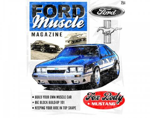 Mustang Ford Muscle Magazine T-Shirt, White