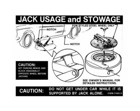 Ford Mustang Decal - Jack Instruction - Styled Wheels