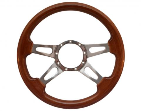 Volante S9 Premium Steering Wheel, with Slotted Polished Aluminum Spokes & Walnut Grip