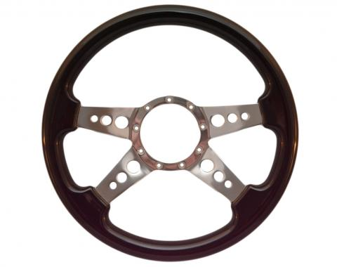 Volante S9 Premium Steering Wheel, with 3 Hole Polished Aluminum Spokes & Black Ash Grip
