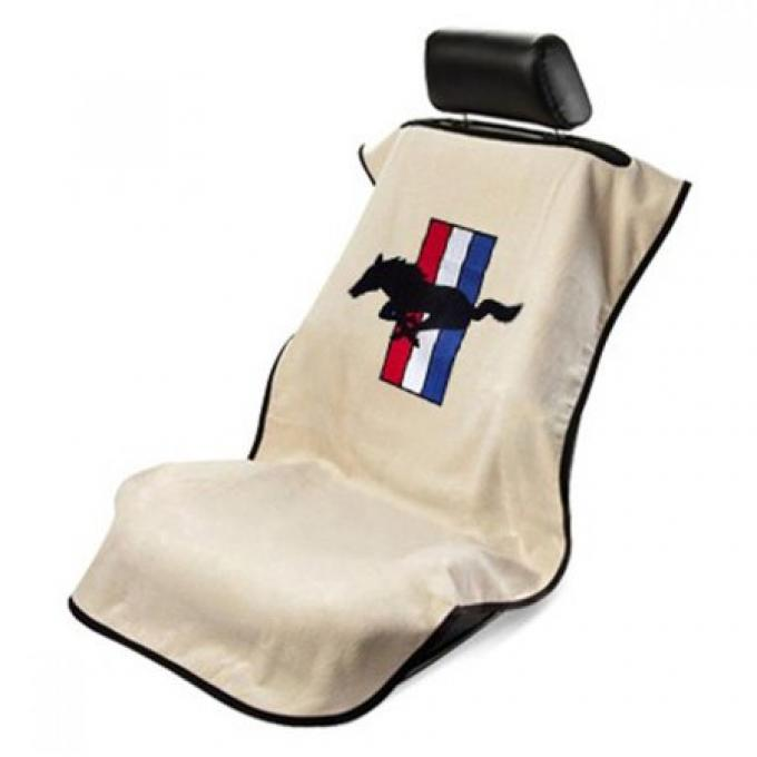Seat Armour Mustang Pony, Seat Towel, Tan with Logo SA100MUST
