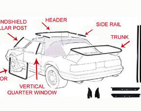 Mustang Weatherstrip Kit, Convertible, 17 Piece, 1987