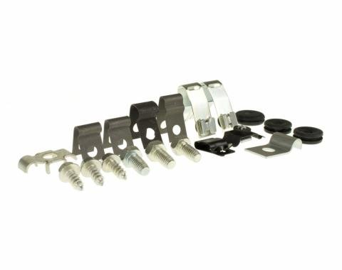 Right Stuff 65 - 66 6 Cylinder Brake Fuel Line Clips; 19 Pcs. ZCS6501