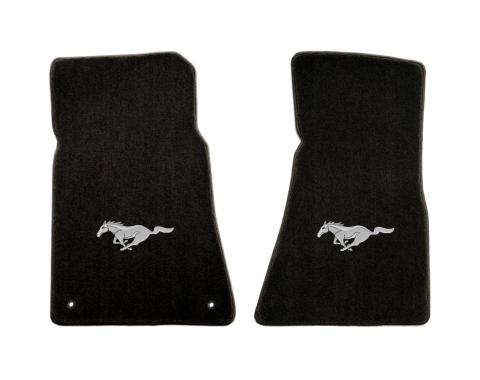 Mustang Floor Mats, 2 Piece Lloyd® Velourtex™, with Silver Running Horse, Black Carpet, 1994-2004