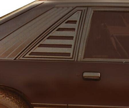 Mustang Side Window Louver, Black ABS Textured, 1979-1993