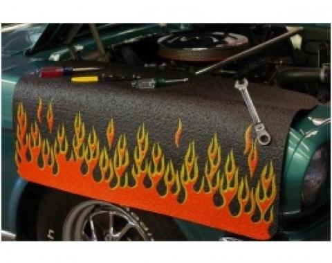 Fender Gripper® Cover, Black With Flames, Orange