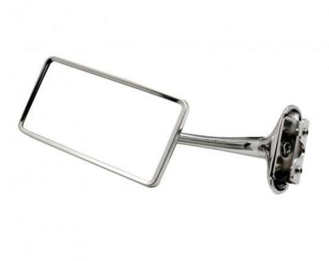 """United Pacific Stainless Steel Rectangular Door Edge Mirror w/6"""" Chrome Arm For 1941-48 Chevy Car C5003"""