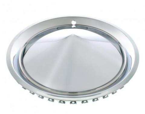 """United Pacific 15"""" Chrome Plated 57-Plymouth """"California Cone"""" Hubcap Set (4/Set) C5057"""