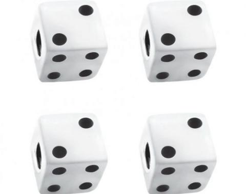 United Pacific White Dice Valve Caps w/ Black Dots (4 Pack) 70006