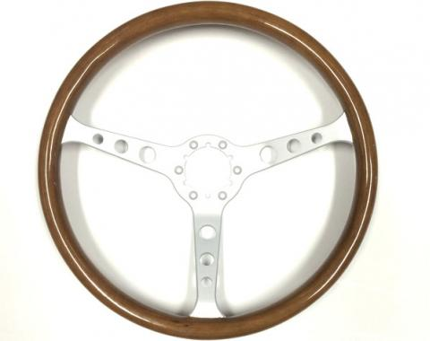 Volante S6 Classic Steering Wheel, with 3 Hole Brushed Spokes & Wood Grip