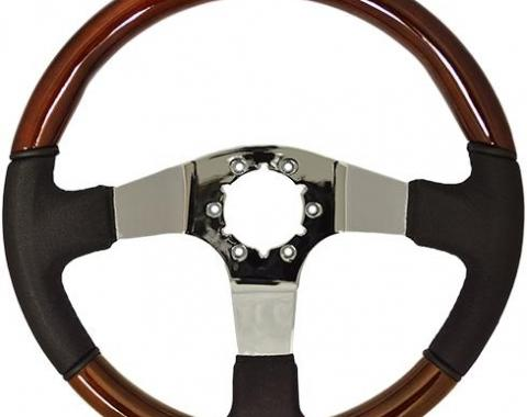 Volante S6 Sport Steering Wheel, with Chrome Spokes & Mahogany/Black Leather Grip