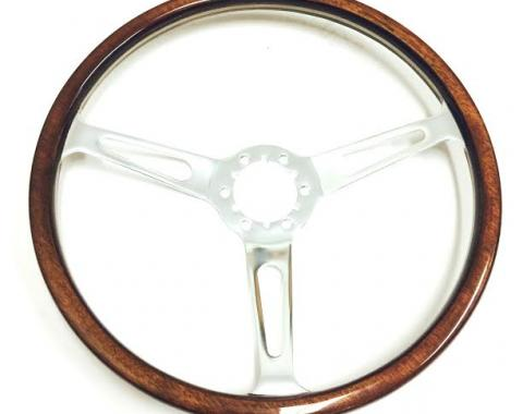 Volante S6 Sebring Steering Wheel, with Slotted Chrome Spokes & Wood Grip without Rivets