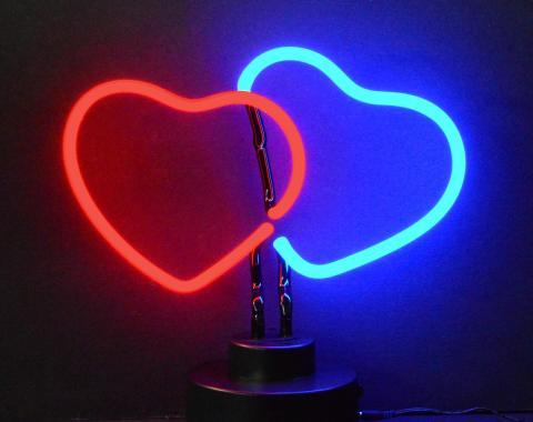 Neonetics Neon Sculptures, Double Hearts Neon Sculpture