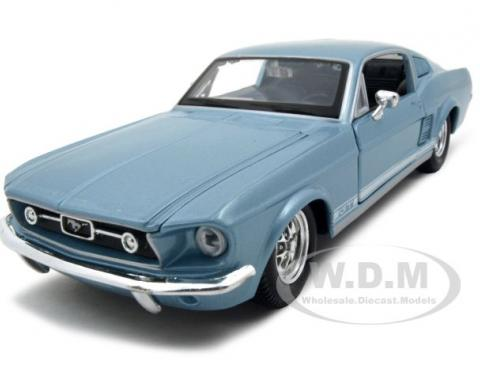 1967 Ford Mustang GT Diecast Car Model 1/24 Blue Die Cast Car