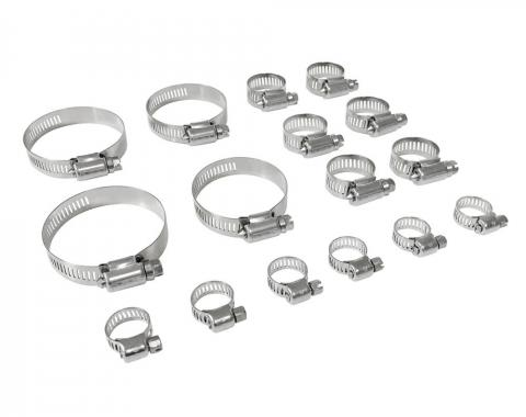 Ford Mustang Radiator Hose Clamp Set, Stainless Steel, with FoMoCo Logo, 260/289/302/351 V8