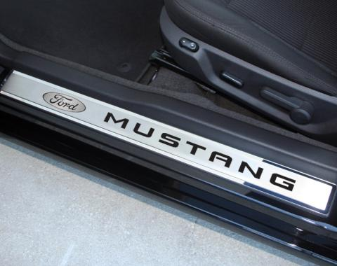 """Mustang Doorsills Polished/Brushed Ford Oval with """"MUSTANG"""" Carbon Fiber Inlay 2Pc Outer 2010-2013, Plum Crazy Purple Solid"""