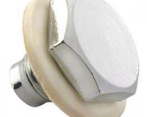 Oil Pan Drain Plug - Chrome Plated - 1/2- 20 Threads - Includes Nylon Washer