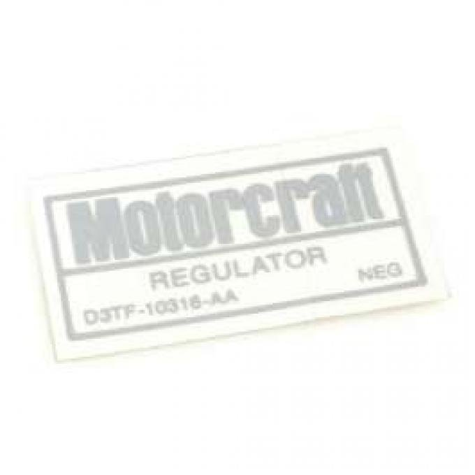 Decal - Voltage Regulator - For Cars With Air Conditioning