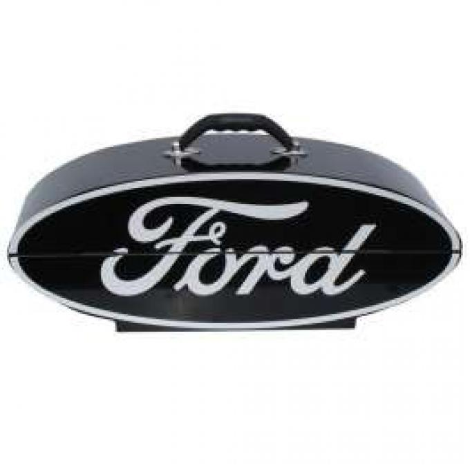 GoBox - Steel - Powder-Coated Black Finish With A White Ford Logo - 26 Wide x 10 High x 7 Deep