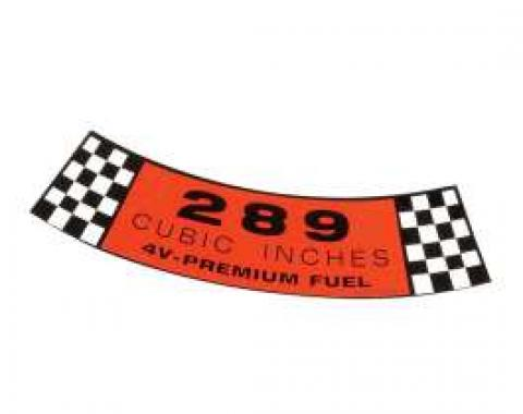 Air Cleaner Decal - 289 4V-Premium Fuel